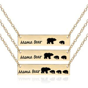 Gold Mama Bear Bar Link Chain Mom Pendant Necklace